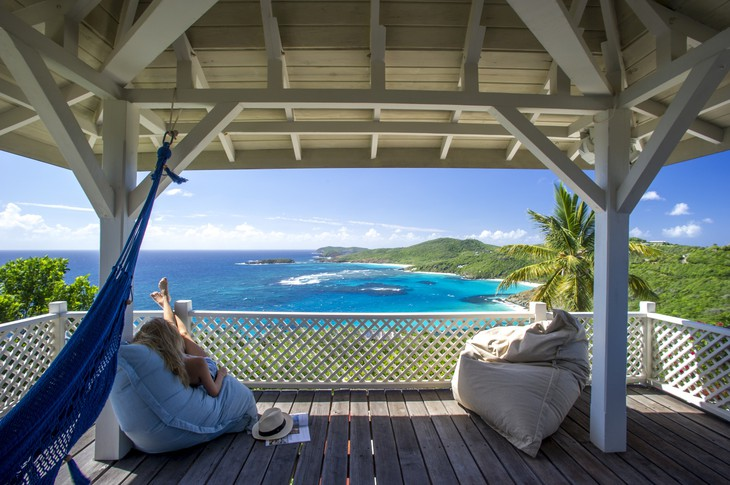 Mustique Island hammock and bean bags terrace