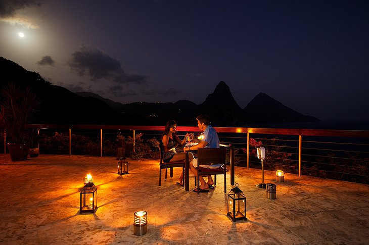 Romantic dining in the evening on the rooftop