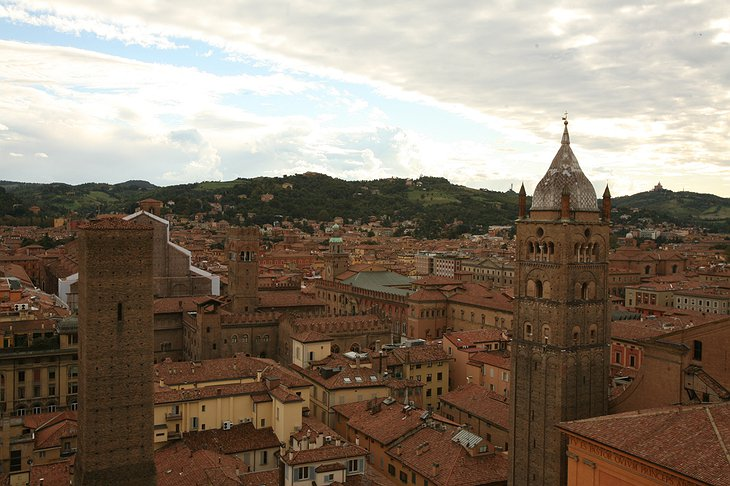 View on Bologna from the top of Prendiparte tower