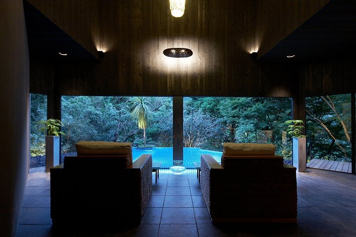 View on the swimming pool from relax seats at Hakone Ginyu