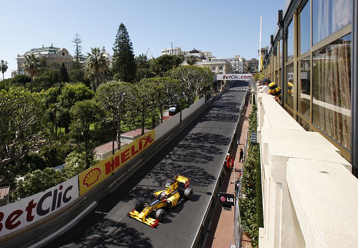 Formula one from the balconies of Hotel Metropole