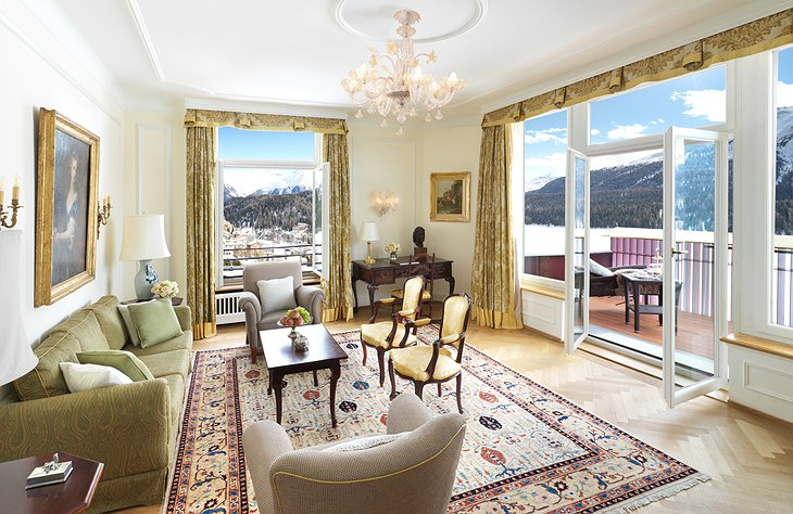 Badrutt's Palace Hotel living room with Alps views