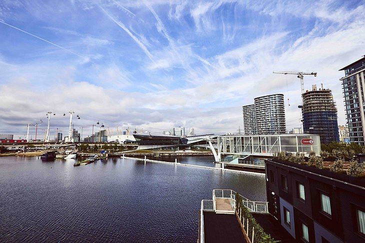 Views from Good Hotel London on Royal Victoria Dock and the city