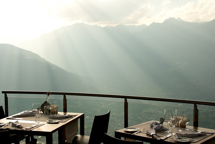 Dining with mountain views