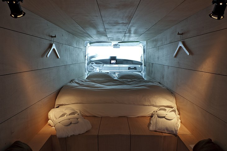 Converted van interior as hotel room