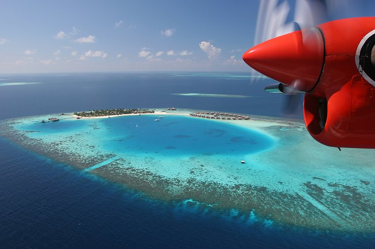 Huvafen Fushi from the airplane