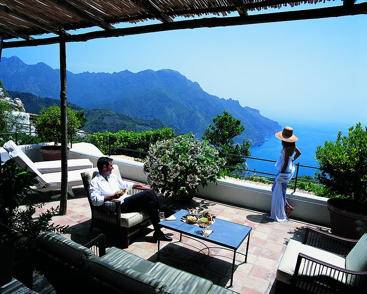 Hotel Caruso terrace with sea-views