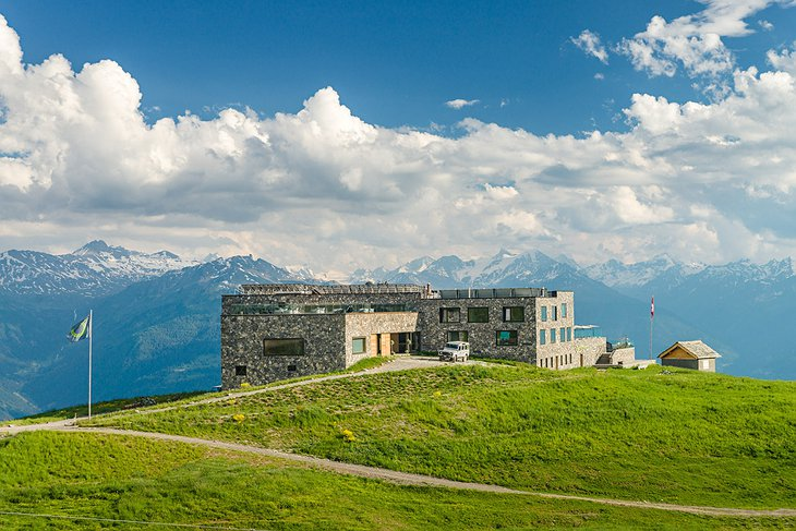 Hotel Chetzeron at 2112 meters high up in the Alps