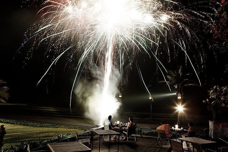 Alila Villas Soori romantic dining with fireworks show