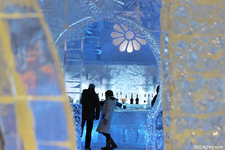 Drinking at the ice bar