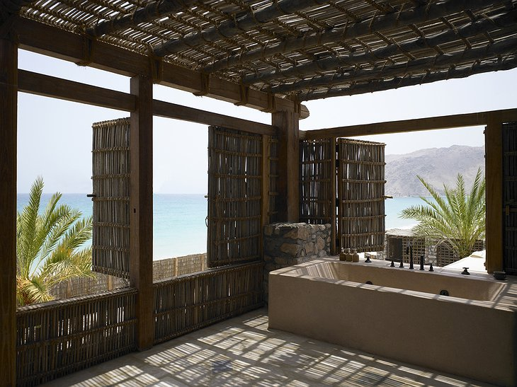 Bath on the rooftop terrace of Six Senses Zighy Bay hotel