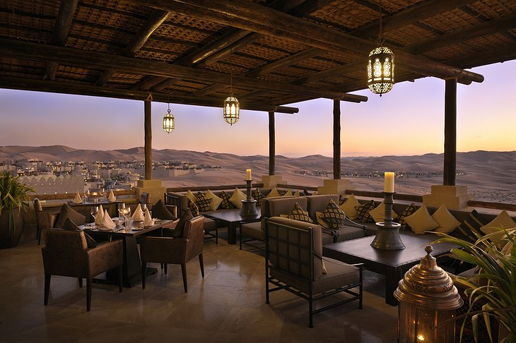 Suhail restaurant terrace with desert panorama