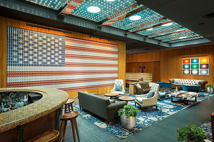 Dream Downtown hotel lobby with American flag