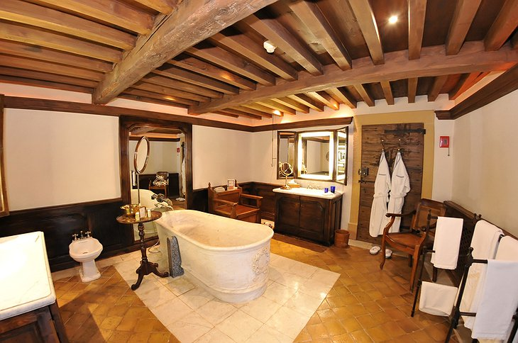 Wooden bathroom at Chateau de Bagnols