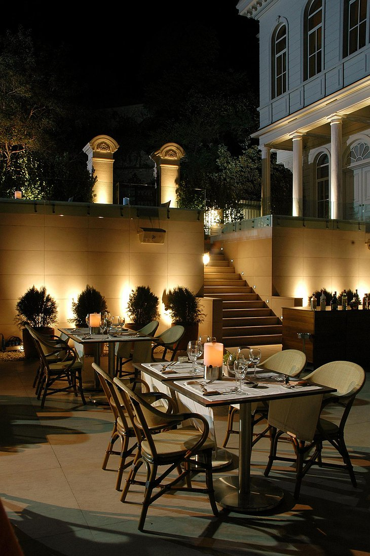 Dining outside on the terrace