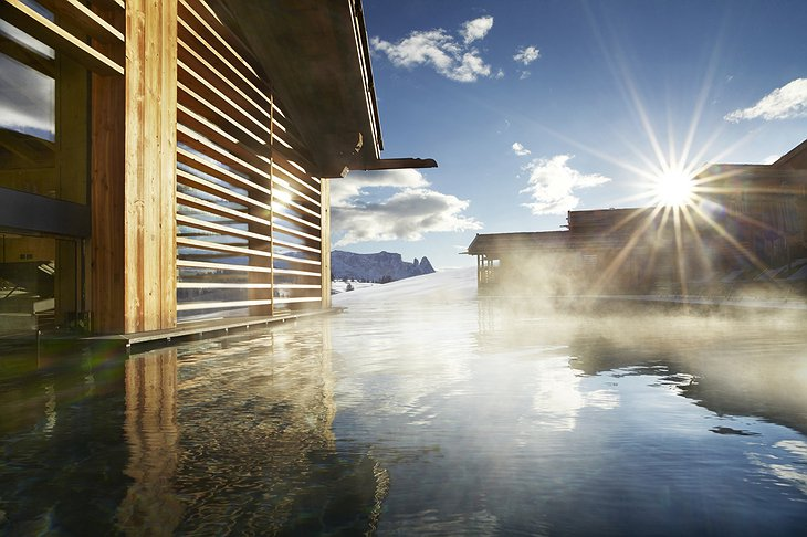 Steaming outdoor pool