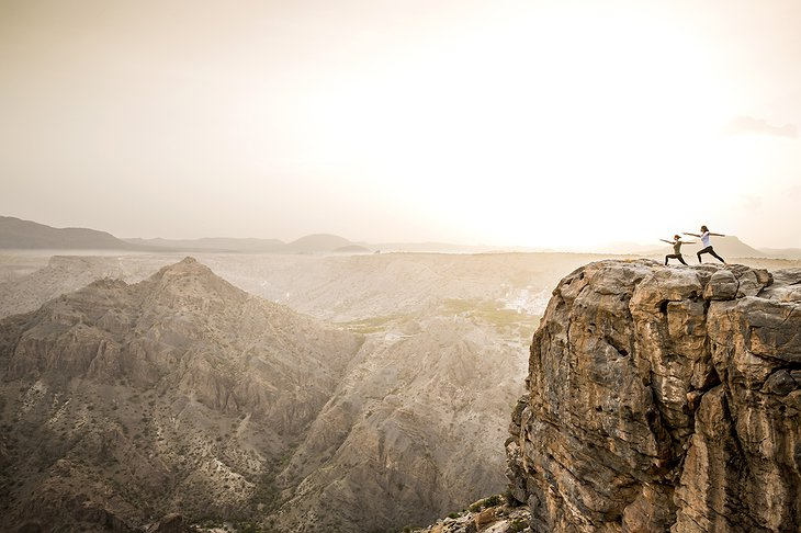 Anantara Al Jabal Al Akhdar Resort yoga on the cliffs