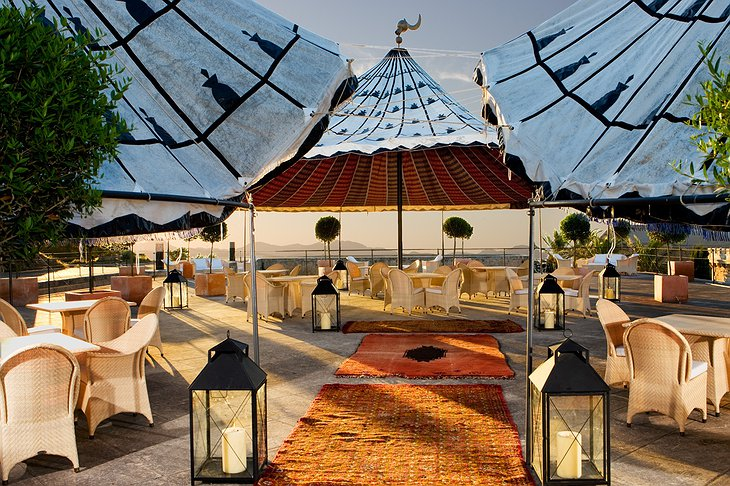 Cap Rocat tents on the rooftop terrace
