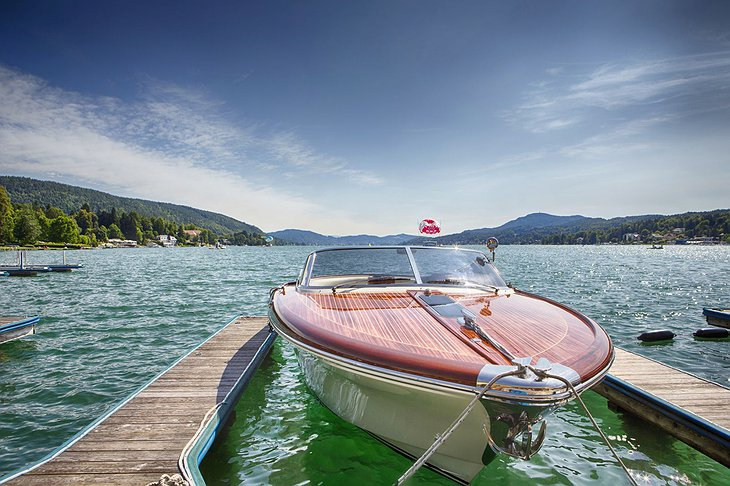 Posh boat parked at Lake Wörthersee