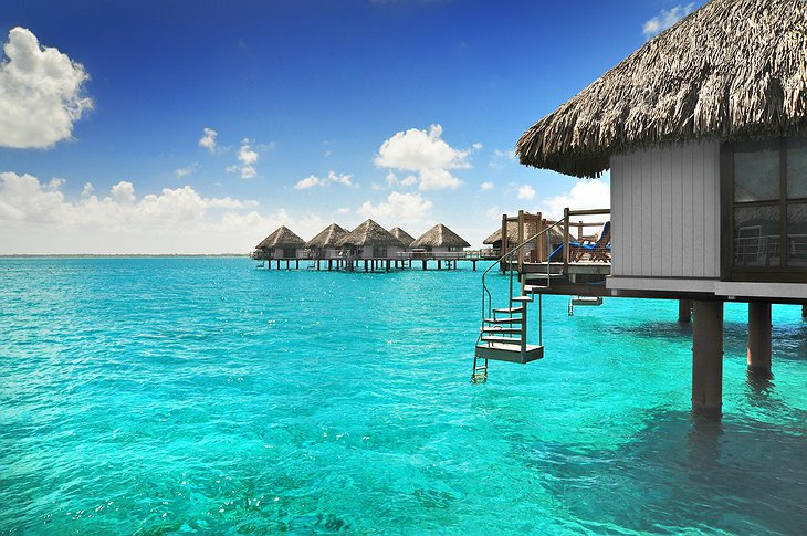 Bora Bora bungalows on the ocean