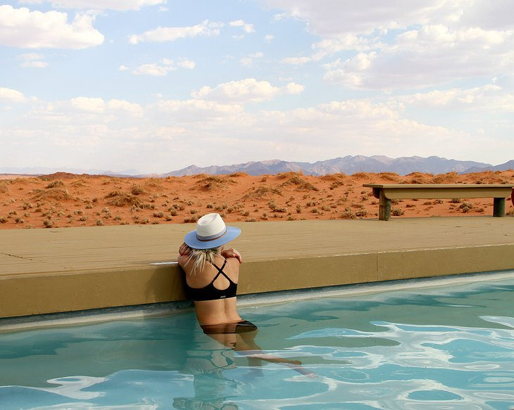 Wolwedans Dunes Lodge pool with desert view