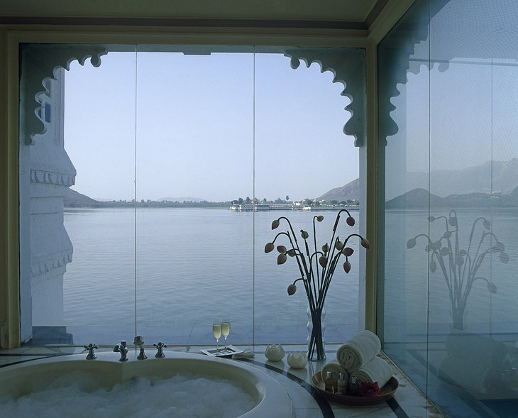 Lake Palace Hotel bathroom with lake view