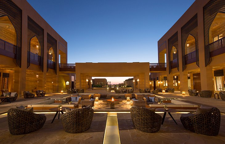 Anantara Al Jabal Al Akhdar Resort courtyard with fireplace