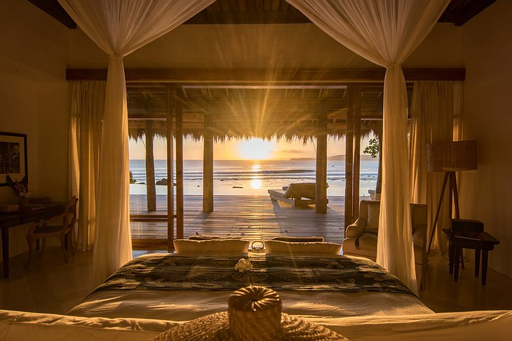 Bedroom with sea views at sunset