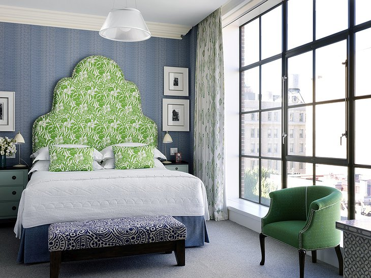 Crosby Street Hotel bedroom with NYC views
