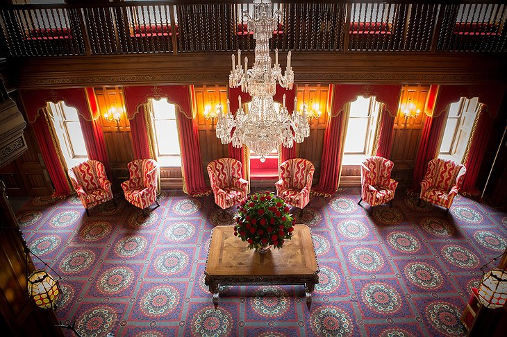 Ashford Castle lobby from above