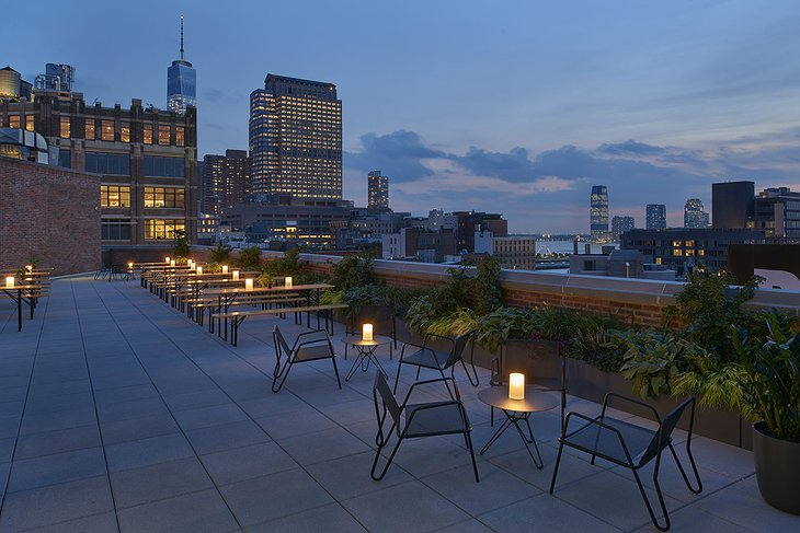 Arlo Hudson Square rooftop terrace at night