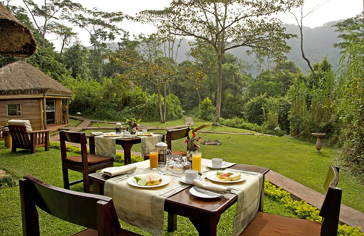 Sanctuary Gorilla Forest Camp breakfast with jungle views