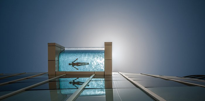 InterContinental Dubai Festival City - Glass Bottom Swimming Pool with Dubai Panorama