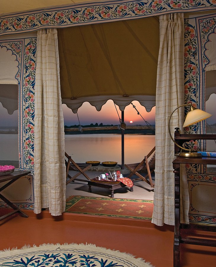 Chhatra Sagar sunset from the tent