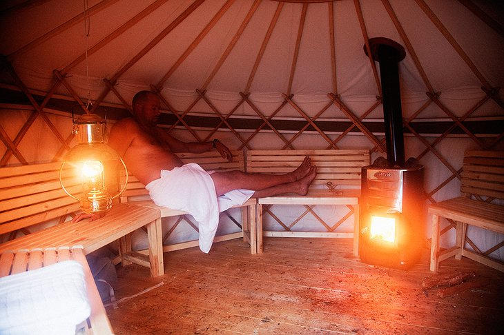 Sauna in a yurt
