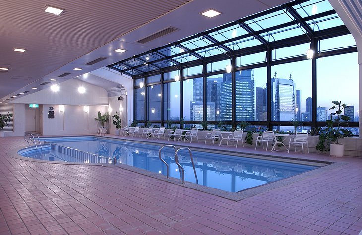 Indoor swimming pool with Tokyo view