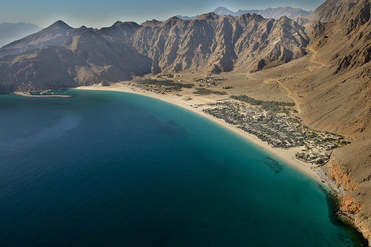 Six Senses Zighy Bay from an airplane