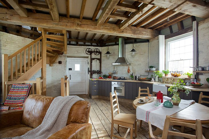 Old Smock Mill kitchen and wooden stairs