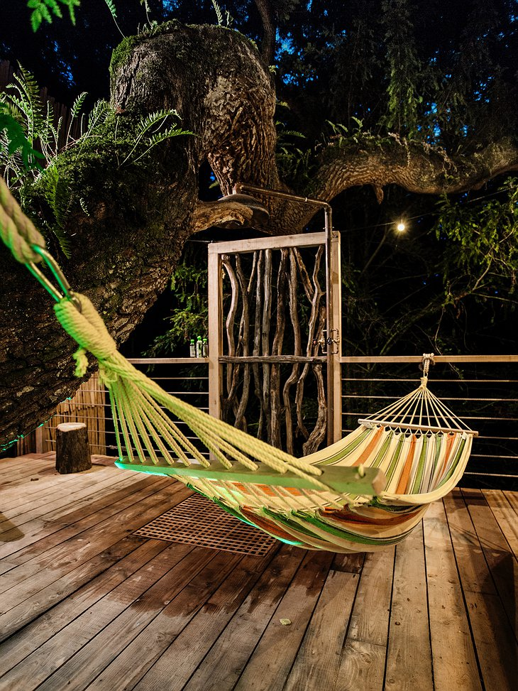 The Woodman's Treehouse Hammock on the Terrace