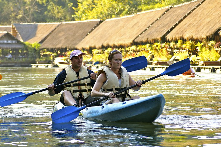 Canoeing at the River Kwai Jungle Rafts