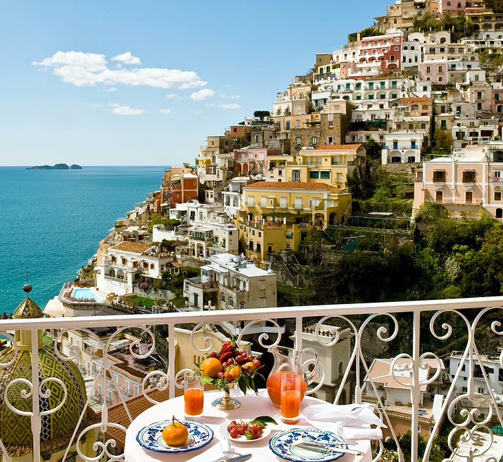 View from the terrace on Positano in Le Sirenuse Hotel