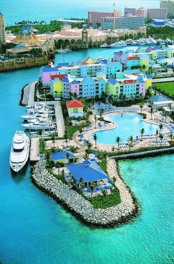 Hotel Atlantis Paradise Island aerial with yachts