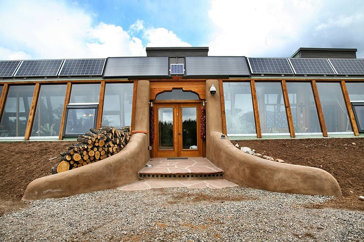 Earthship Front Glassy Facade