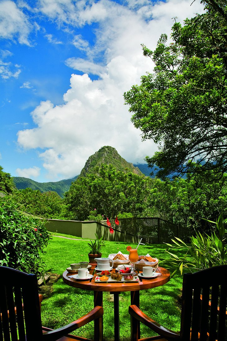 Machu Picchu Sanctuary Lodge private terrace with mountain view