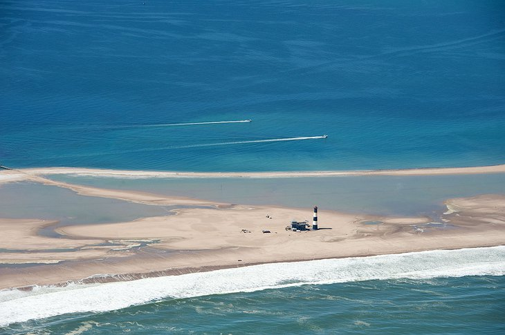 Aerial view of the Pelican Point Lodge in Walvis Bay in Namibia