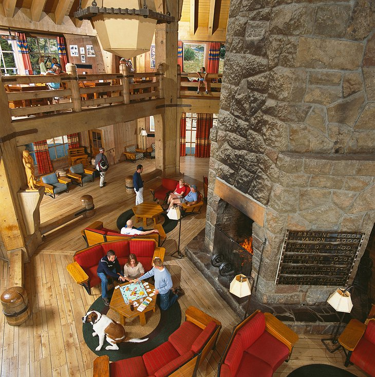 Timberline Lodge lobby from top