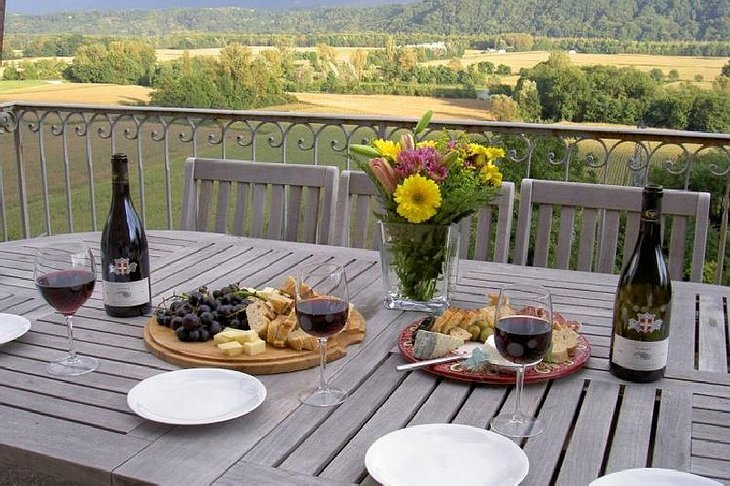 Dinner on the terrace with view on the mountain. French wine, cheese, grapes and baguettes.
