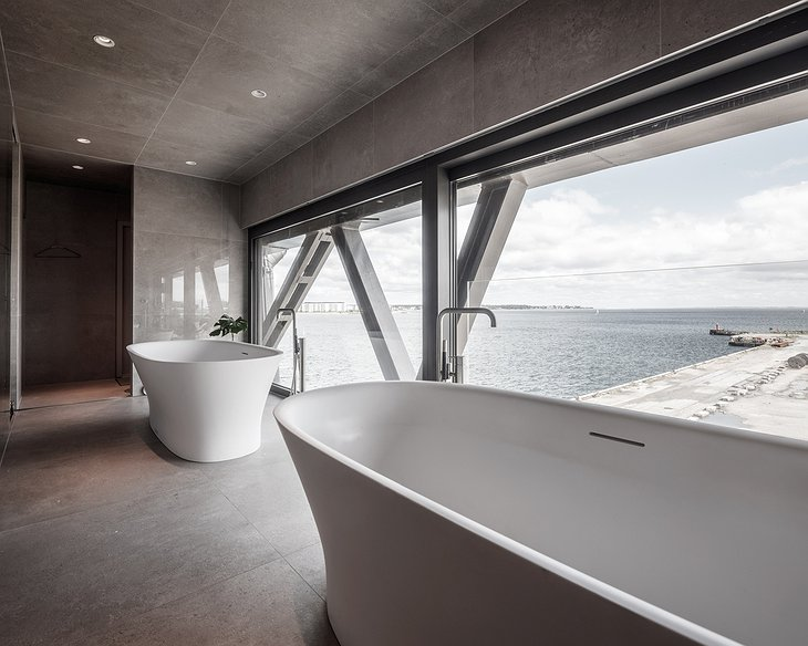 TheKrane bathroom with two bathtubs and panoramic windows