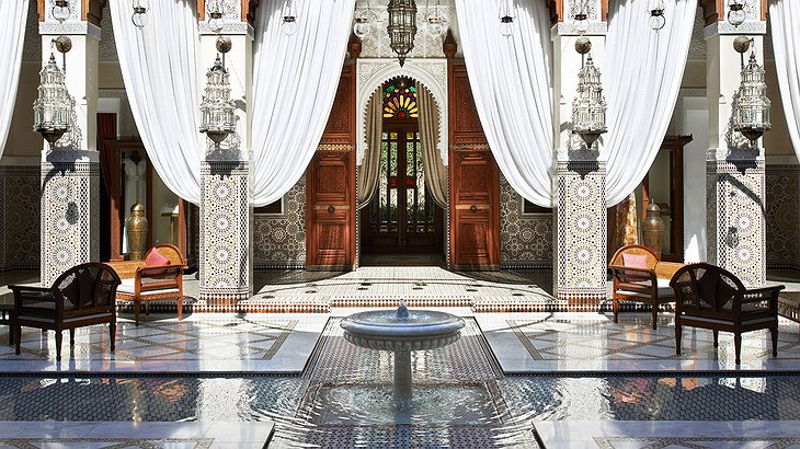 Entrance lobby of the Royal Mansour Marrakech