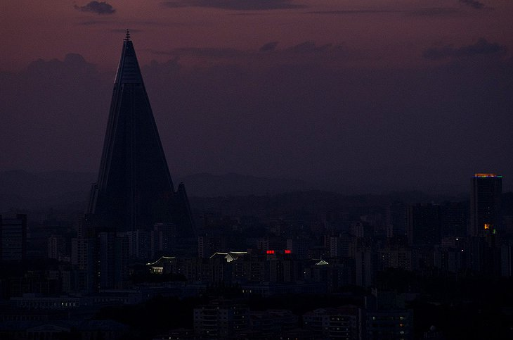 Ryugyong Hotel at night